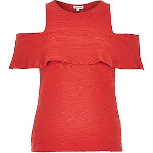 Red textured cold shoulder top