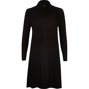 Black cowl neck swing dress