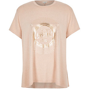 Pink metallic print swing t-shirt