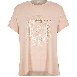 Pink metallic print swing t-shirt