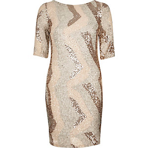 Beige sequin patchwork bodycon dress
