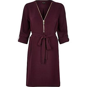 Dark red zip front shirt dress