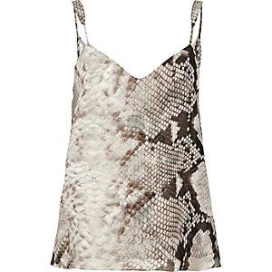 Grey snake print V-neck cami