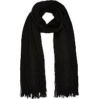Black knitted tassel scarf