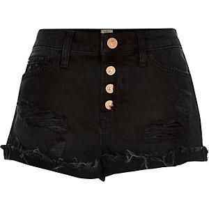 Black ripped Ruby denim shorts