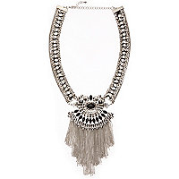 Silver tone embellished large tassel necklace