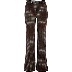 Red check flared trousers