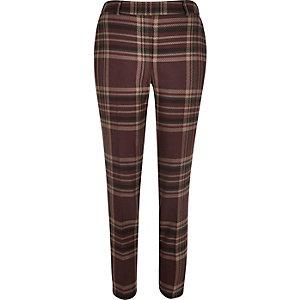 Red check cigarette trousers