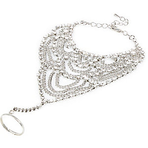 Silver tone statement gem hand harness