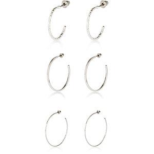 Silver tone hoop earrings pack