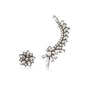 Silver tone embellished asymmetric earrings
