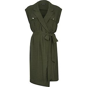 Khaki military wrap dress