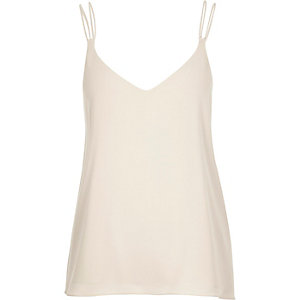Beige double strap cami