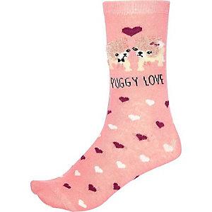 Pink puggy love ankle socks