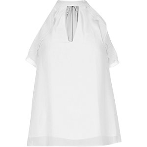 White ruffle halter neck blouse