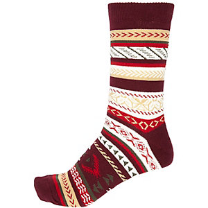 Red fairisle print ankle socks