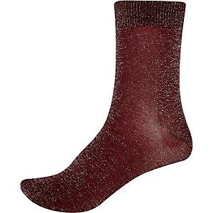 Dark red lurex ankle socks