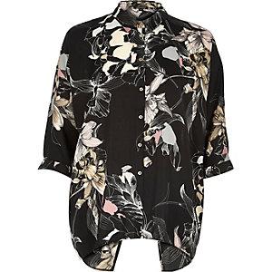 Black print open back shirt