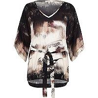 Pink print kimono belted top