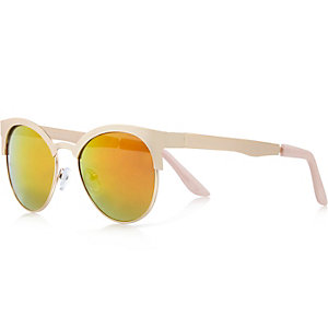 Gold tone round mirror sunglasses