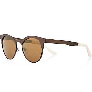 Brown metal clubmaster-style sunglasses