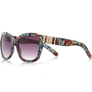 Black tropical wayfarer-style sunglasses