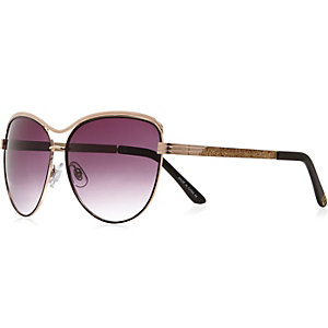 Black cat eye glittery side sunglasses