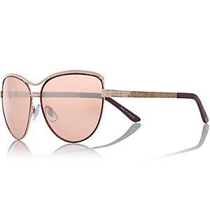 Gold tone cat eye glittery side sunglasses