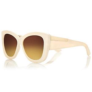 Cream chunky cateye sunglasses