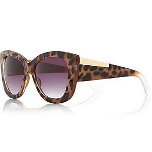 Brown tortoise chunky cat eye sunglasses