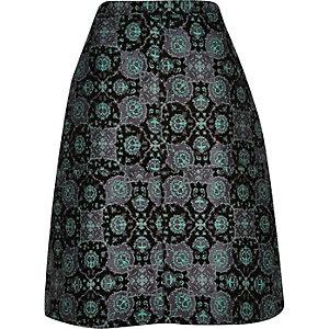 Green floral jacquard midi skirt