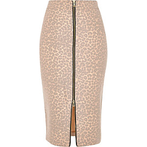 Beige faded leopard print zip pencil skirt