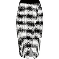 Black print wrap pencil skirt