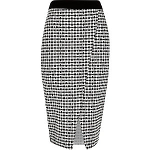 Black print wrap pencil skirt