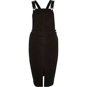 Black minimal overall pinafore dress