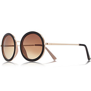 Gold tone black round sunglasses