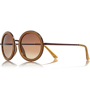 Gold tone dark yellow round sunglasses