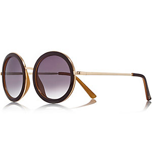 Gold tone dark red round sunglasses