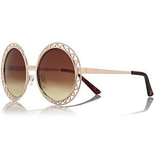 Gold cutwork round sunglasses
