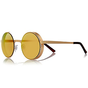 Gold tone retro round sunglasses