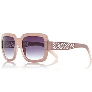 Pink cut-out side square sunglasses