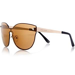 Gold tone visor sunglasses