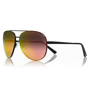 Dark grey aviator-style mirror sunglasses