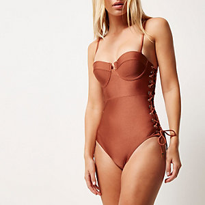 Brown eyelet side bustier swimsuit