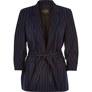 Navy smart stripe belted jacket