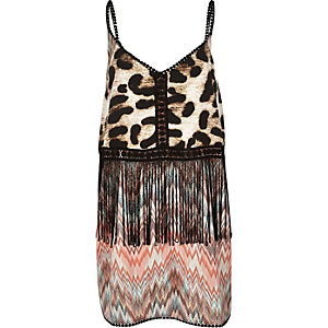 Brown leopard fringed cover-up dress