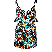 Black tropical leaf print cover-up romper