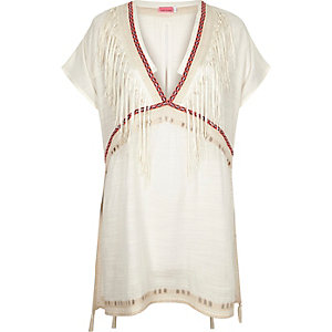White tassel cover-up caftan