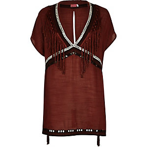 brown fringed cover-up kaftan