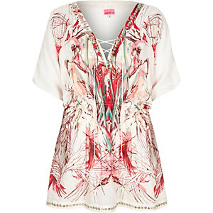 White abstract print embellished caftan
